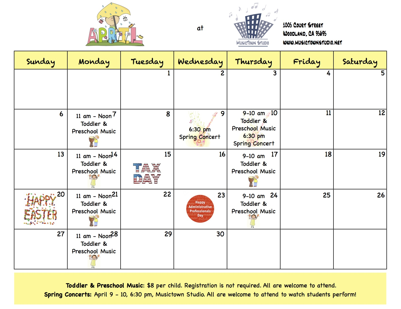 Calendar April Events : April calendar upcoming events musictown studio